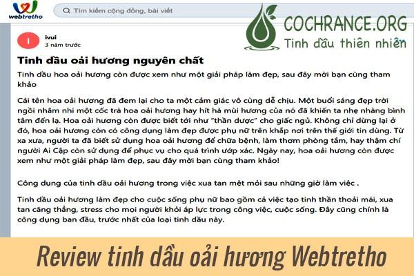 Review tinh dầu oải hương từ người dùng Webtertho